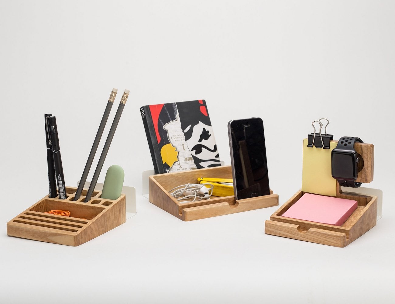 Wood Desk Organizer Set Wooden Desk Organizer Set Has Three Wooden Blocks For Easy
