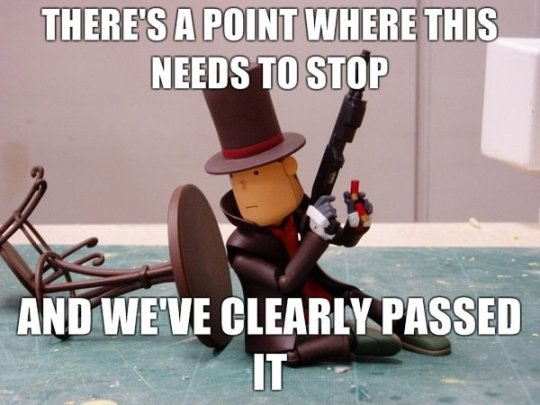 Ok ok, so for the next Professor Layton, lets have him solve puzzles, but this time, with a shotgun!