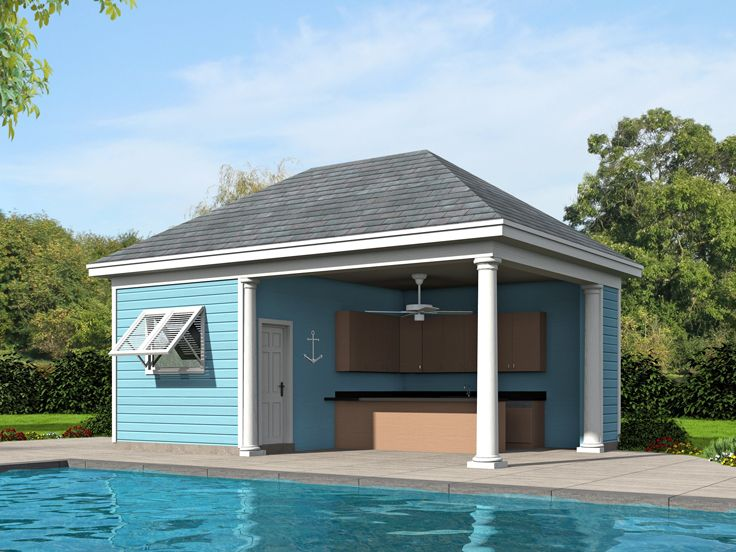 Plan Pool House Pool House Plans | Pool House With Kitchen # 062p-0005 At