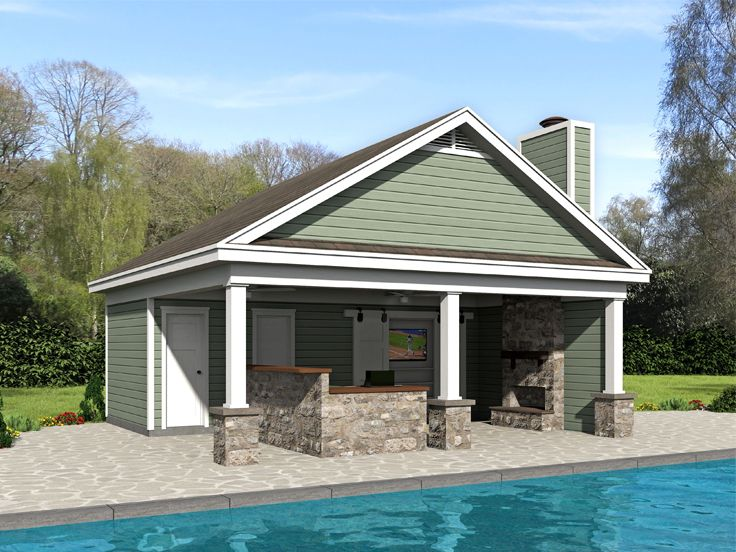 Plan Pool House Pool House Plans | Pool House Plan With Outdoor Living