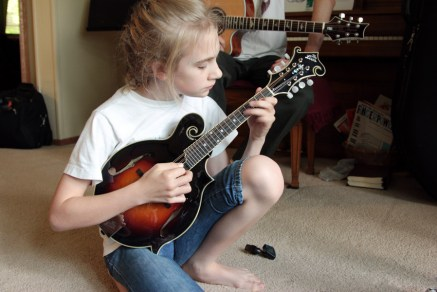 Jayme's new mandolin (she sold her old violins to buy it).