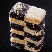Shortbread Fingers with Dark Chocolate and Almond Praline Dust