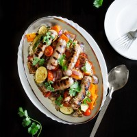 Roasted Summer Vegetables and Honey-Glazed Sausages with Couscous