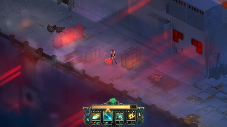 Transistor screenshot with Process-engulfed landscape - analysis and criticism of Transistor's plot - story, narrative