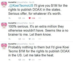huniepot offers koei-tecmo us 1 million bucks