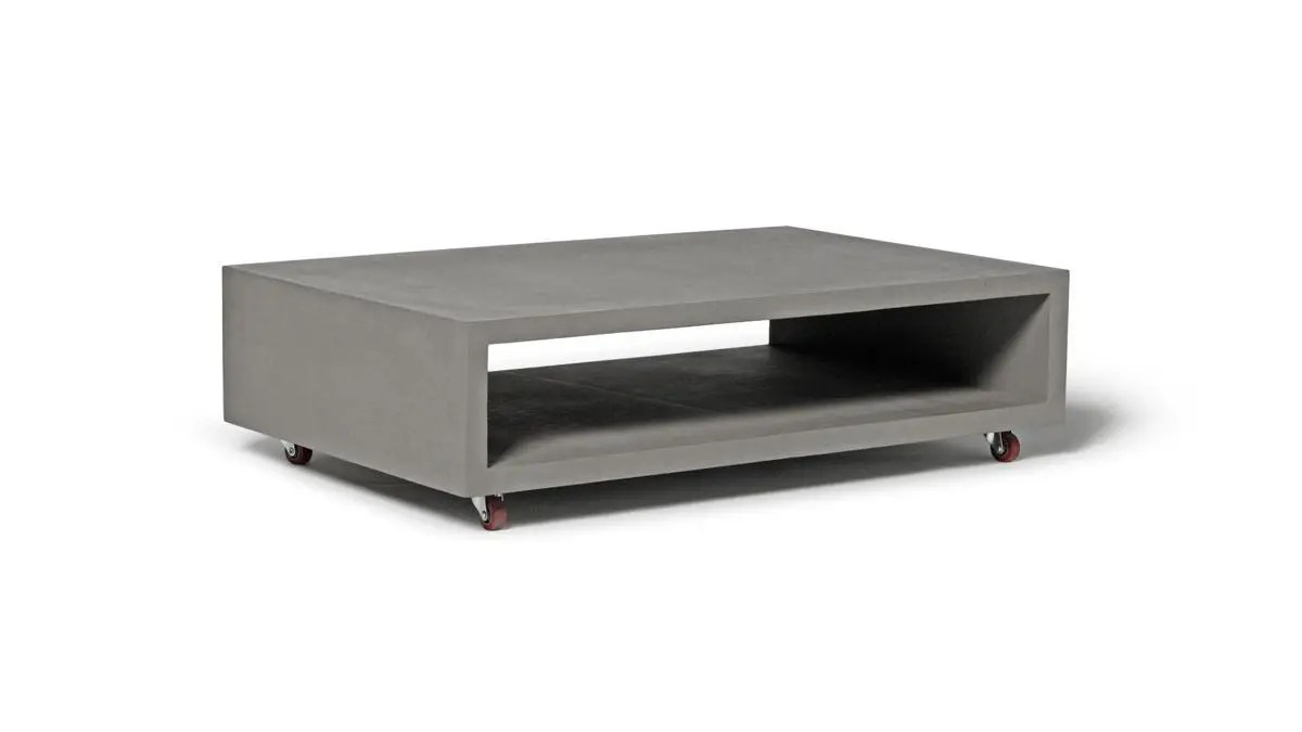 Table On Wheels Concrete Monobloc Coffee Table With Wheels