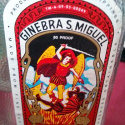 Close up of the Ginebra San MIguel Label. A re-imagination of the famous portrait of the archangel trampling Satan