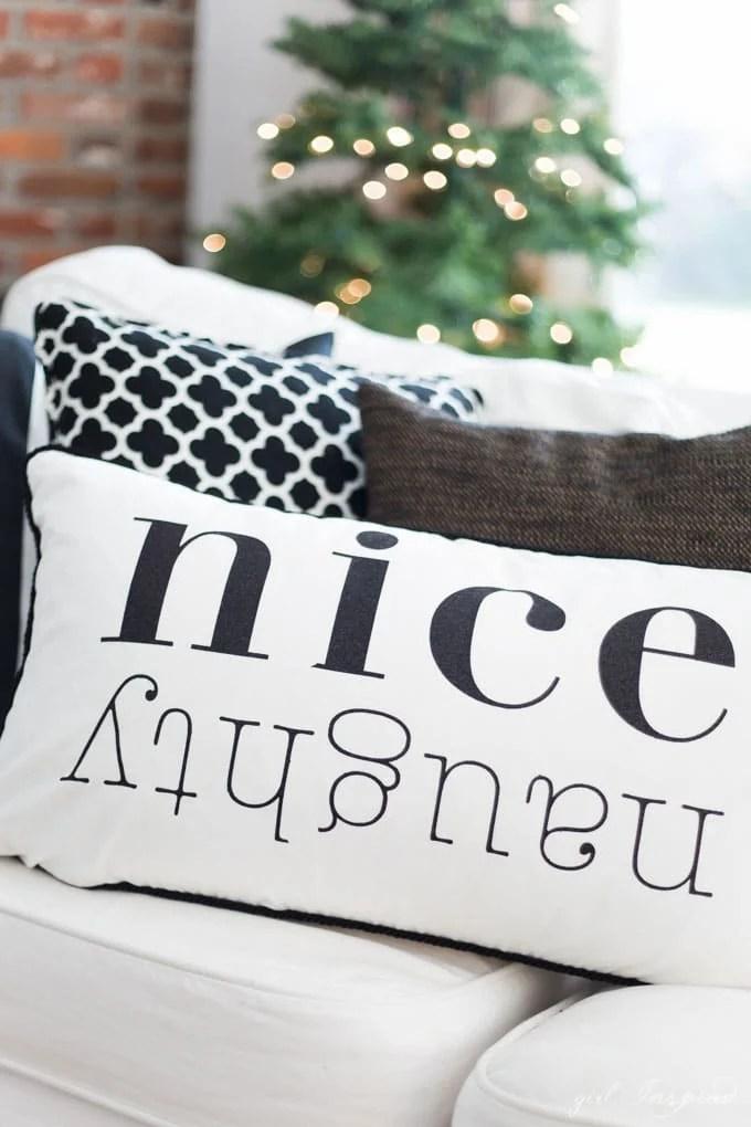 Christmas Pillows with Custom Iron-On Designs - girl Inspired - decorative christmas pillows
