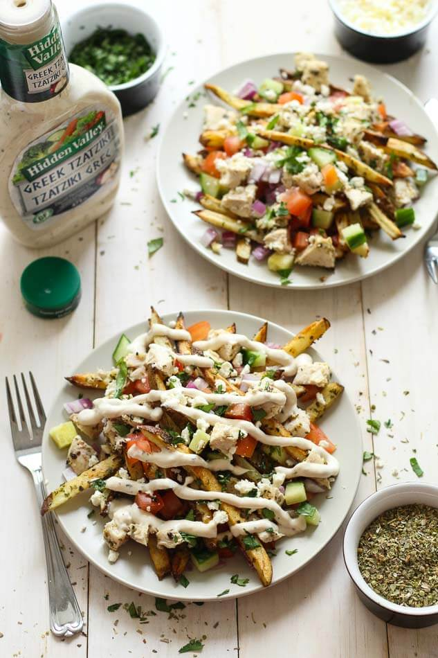 Greek Gyro Fries with Chicken and Tzatziki