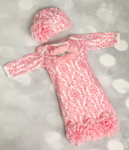 Infant Baby Girl Layette Pink Damask Gown with Chiffon Flowers