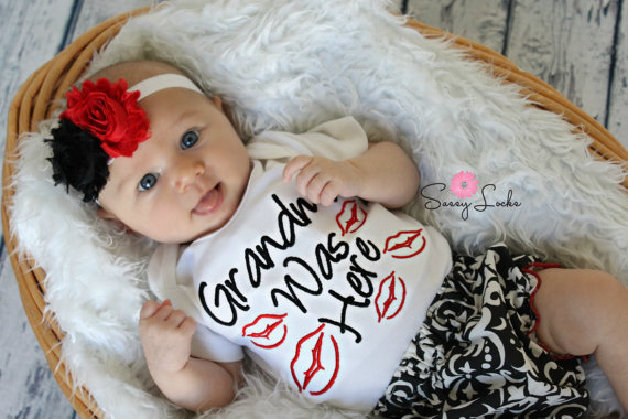 Infant Car Seat Covers Girl Grandma Was Here Kissy Lips 3pc Damask Infant Outfit Set