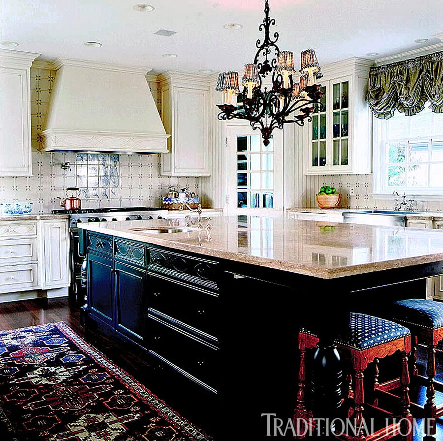 French Kitchen Blue White Tile Backsplash The Glam Pad
