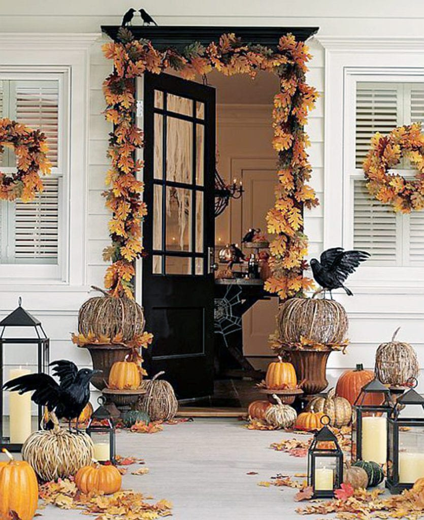 Fall Front Door Decorating Ideas Spooky Pumpkins Pottery Barn The Glam Pad