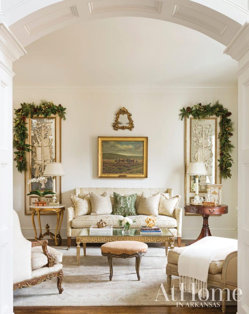 At Home Arkansas Jeremy Carter Interior Design Christmas Holiday Decor Traditional Home Classic Oil Paintings Gold Gilt Frames The Glam Pad