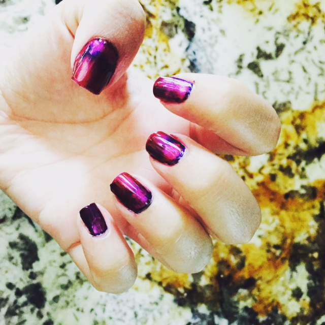 purple tie-dye galaxy nail art