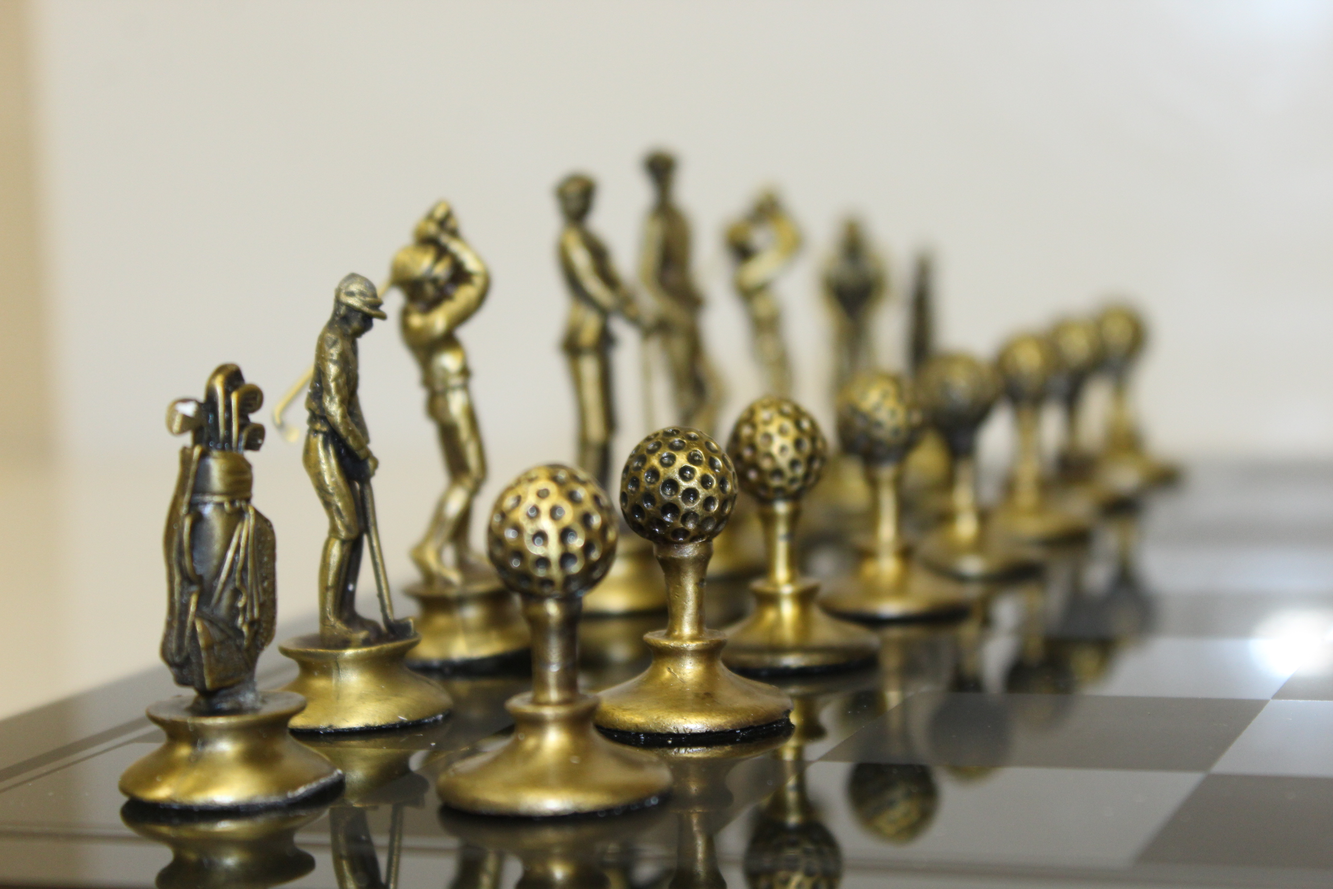 Gold Chess Pieces Lot Detail Deluxe Golf Themed Pewter Silver Gold Colored Chess