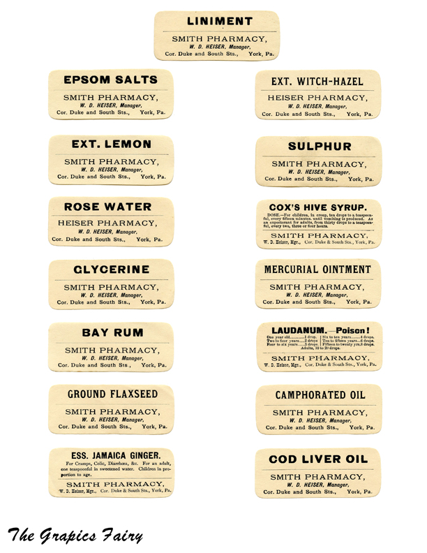 Free Printable Vintage Pharmacy Labels - The Graphics Fairy