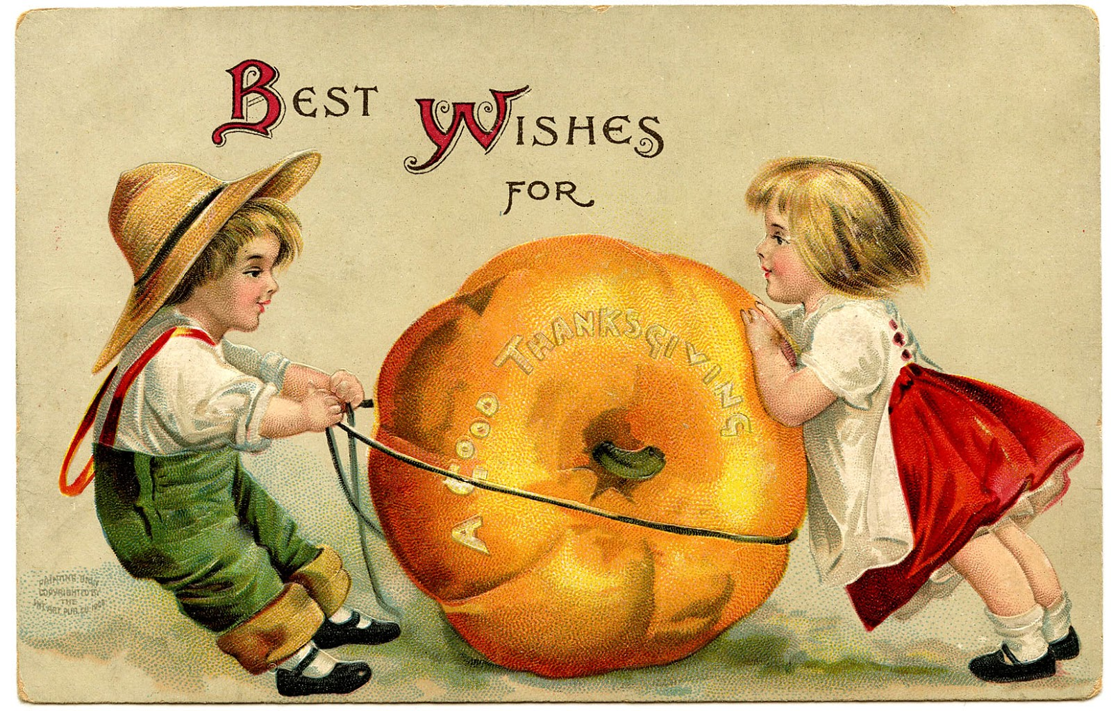Birthday Greetings Jewish Vintage Thanksgiving Image - Cute Kids With Pumpkin - The