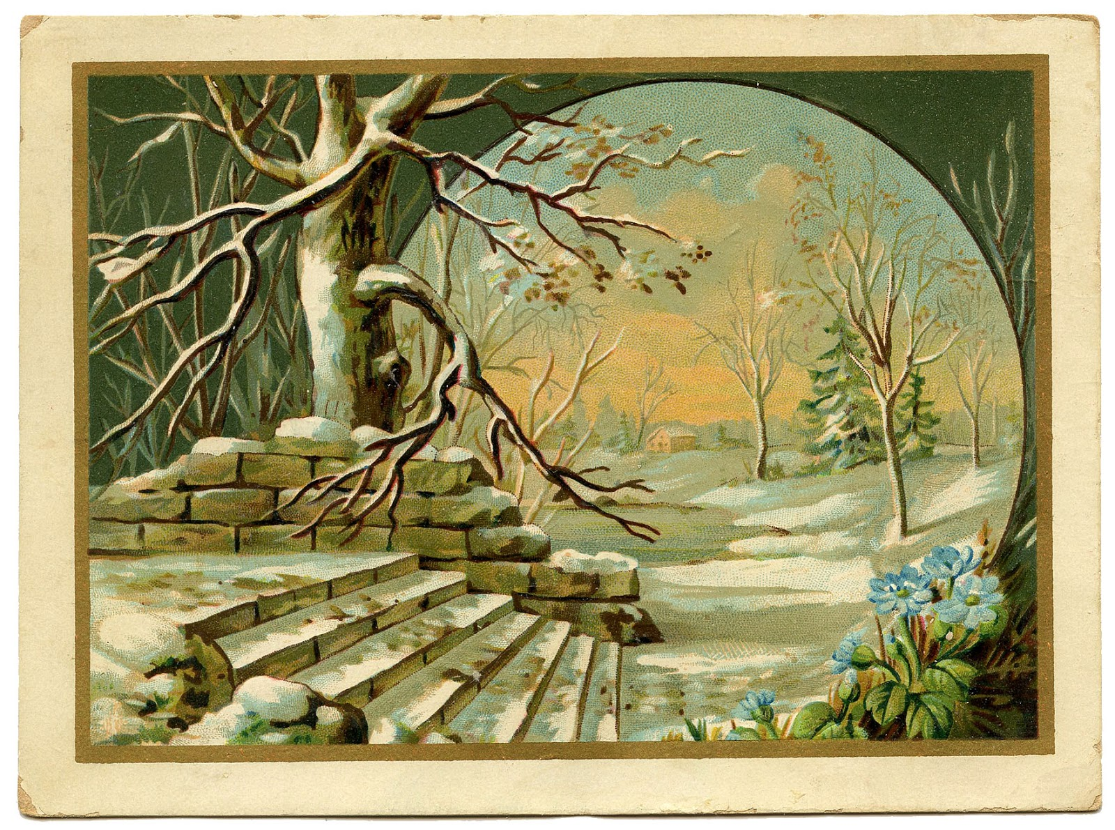 Vintage Bilder Vintage Graphic - Winter Landscape - The Graphics Fairy
