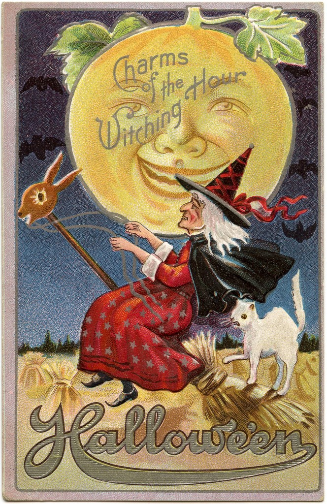 Beautiful Girl Wearing Hat Wallpaper Vintage Halloween Witch Image With Moon Man The Graphics