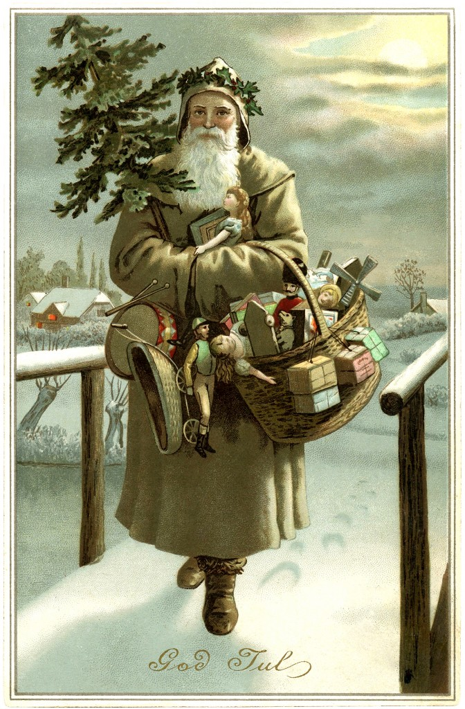 Retro Postkarten Beautiful Swedish Santa Image - God Jul - The Graphics Fairy