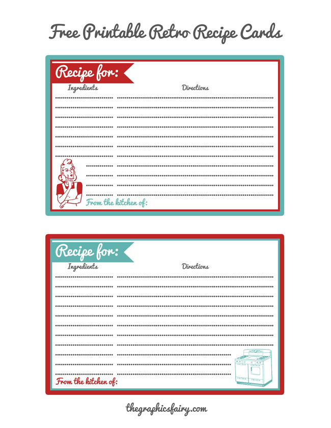 Retro Recipe Card Printables - The Graphics Fairy