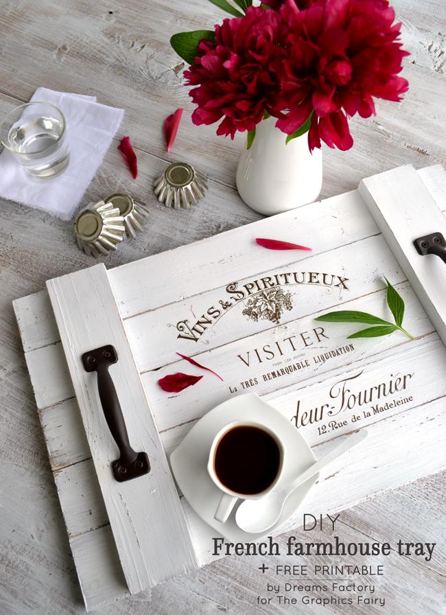 DIY French Farmhouse Tray  free printable