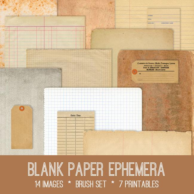 Blank  Lined Paper Ephemera Images Kit! Graphics Fairy Premium