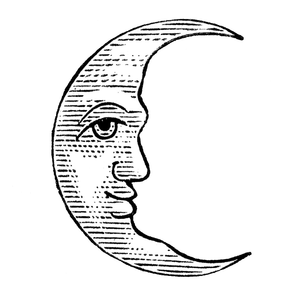 Full Moon Drawing Black And White Antique Clip Art Man In The Moon Crescent And Full