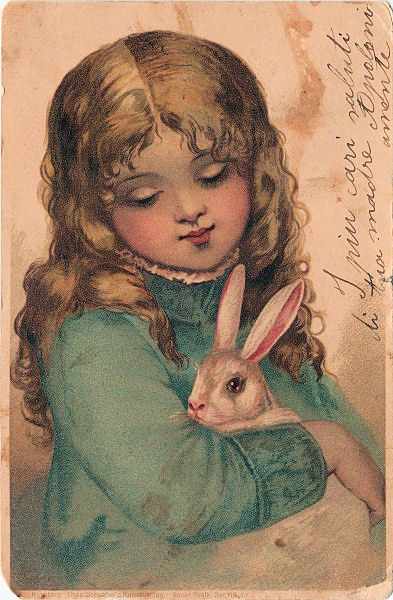 Beautiful Girl In Garden Wallpaper Precious Girl With Darling Bunny Free Easter Clip Art