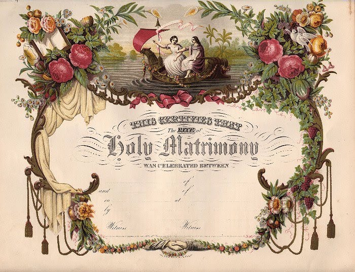 Amazing Victorian Blank Marriage Certificate! - The Graphics Fairy