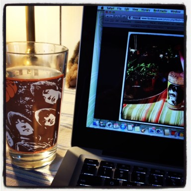 image of beatles glass next to gd meg's computer