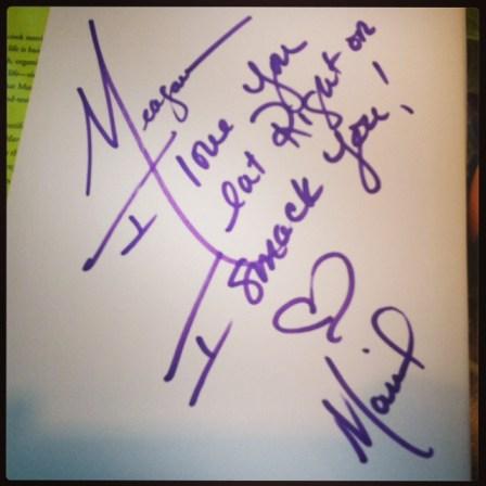 Mariel Hemingway's note to Green Diva Meg
