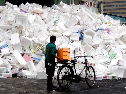 styrofoam garbage pile