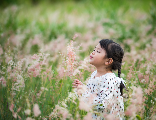child in flowers, allergies and climate change