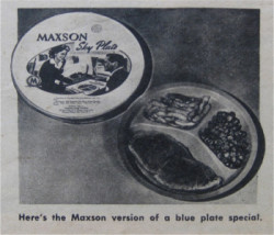 Maxson Sky Plate - original frozen dinners for Pan Am