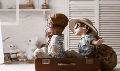 children make believe flying