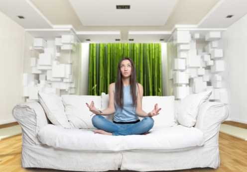 zen meditation in a feng shui home
