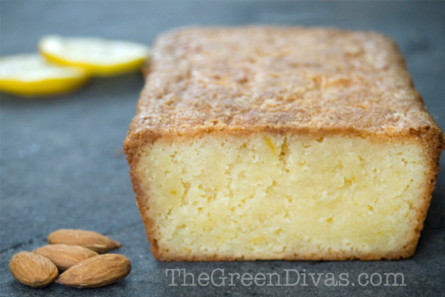 Lemony almond loaf cake on the green divas