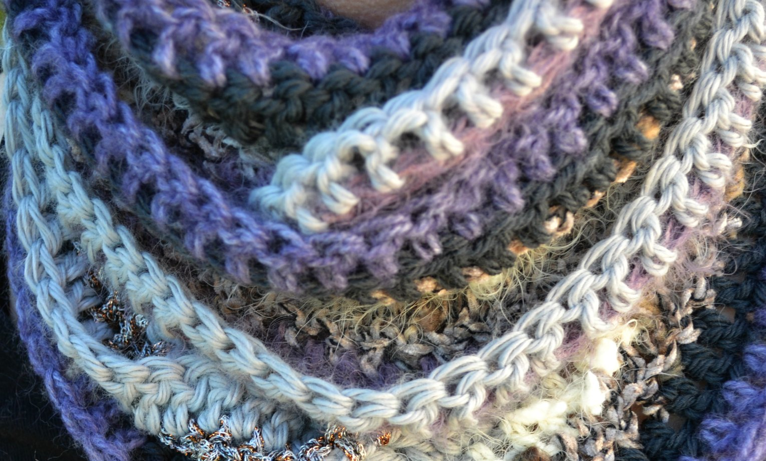 Many textured infinity scarf  The Green Dragonfly