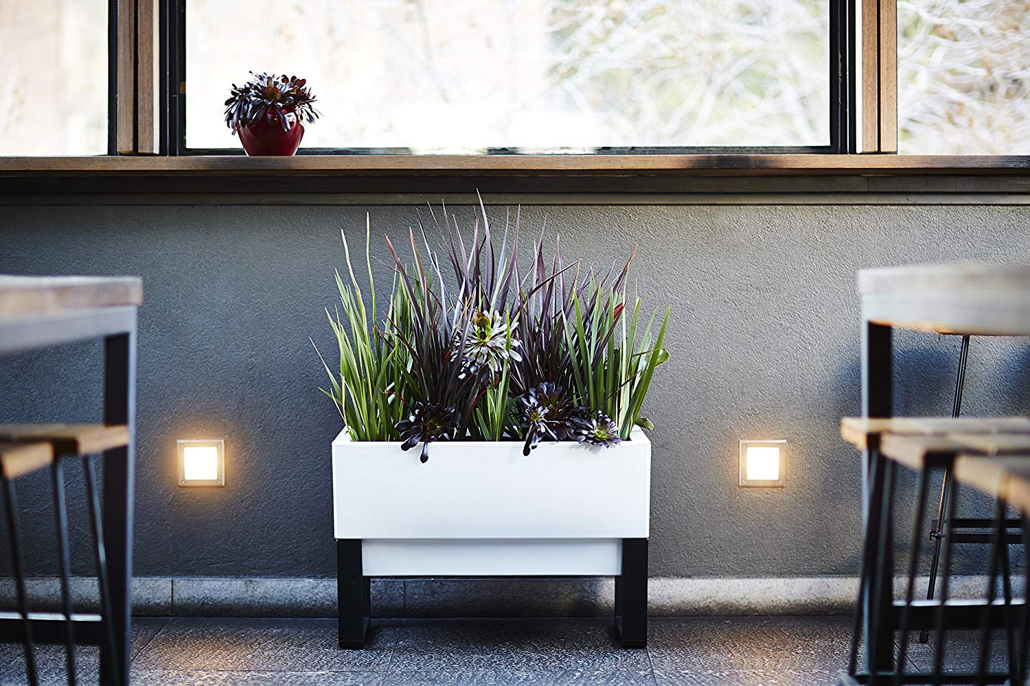 Self Watering Outdoor Planters Glowpear Urban Garden Self Watering Planter