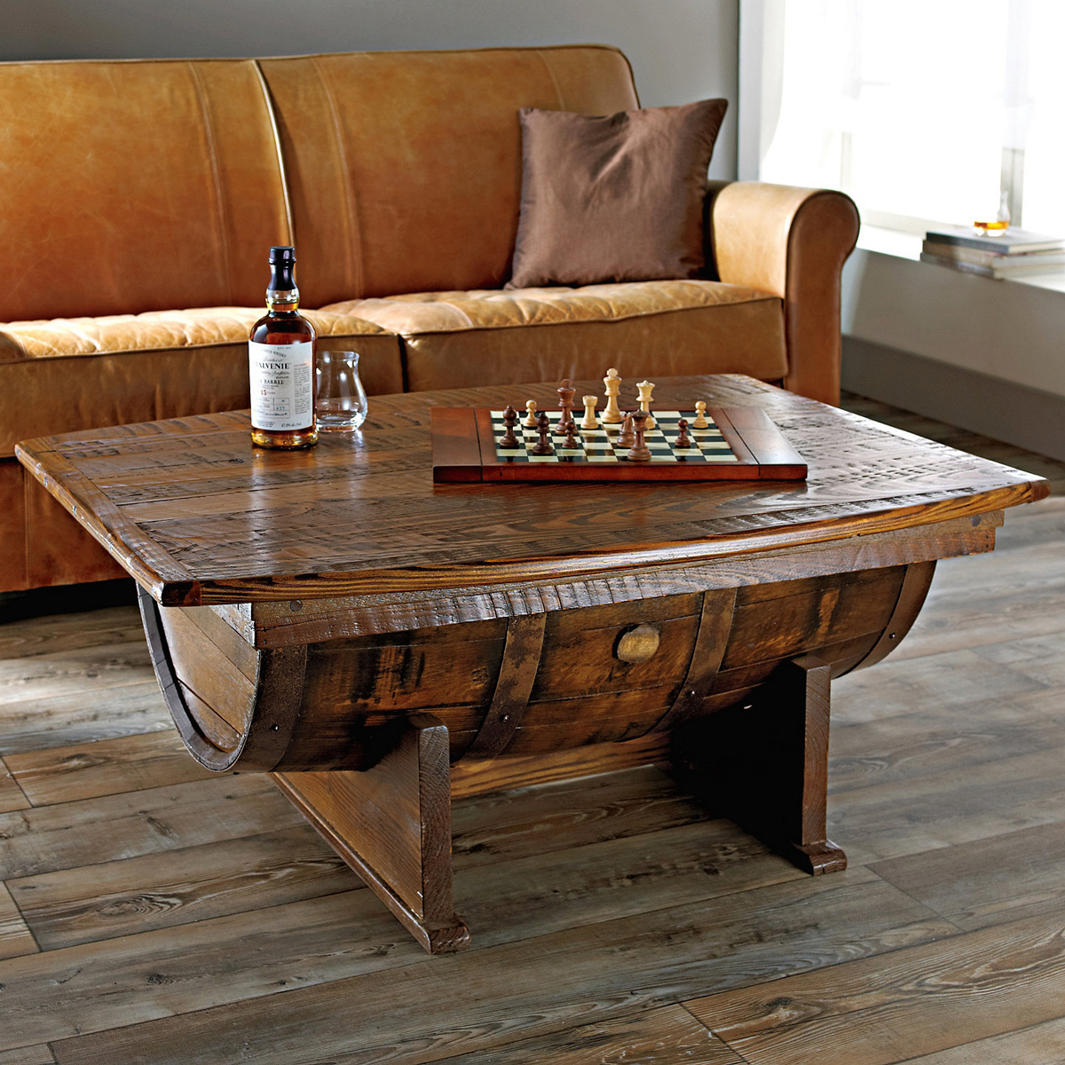 Unique Coffee Tables For Sale Handmade Vintage Oak Whiskey Barrel Coffee Table
