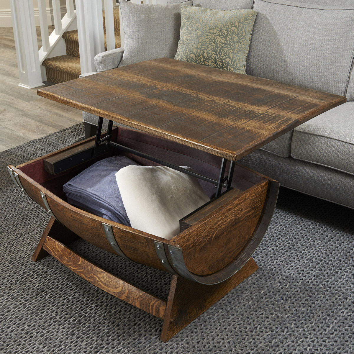 Animal Base Coffee Tables Lift Top Reclaimed Wine Barrel Coffee Table