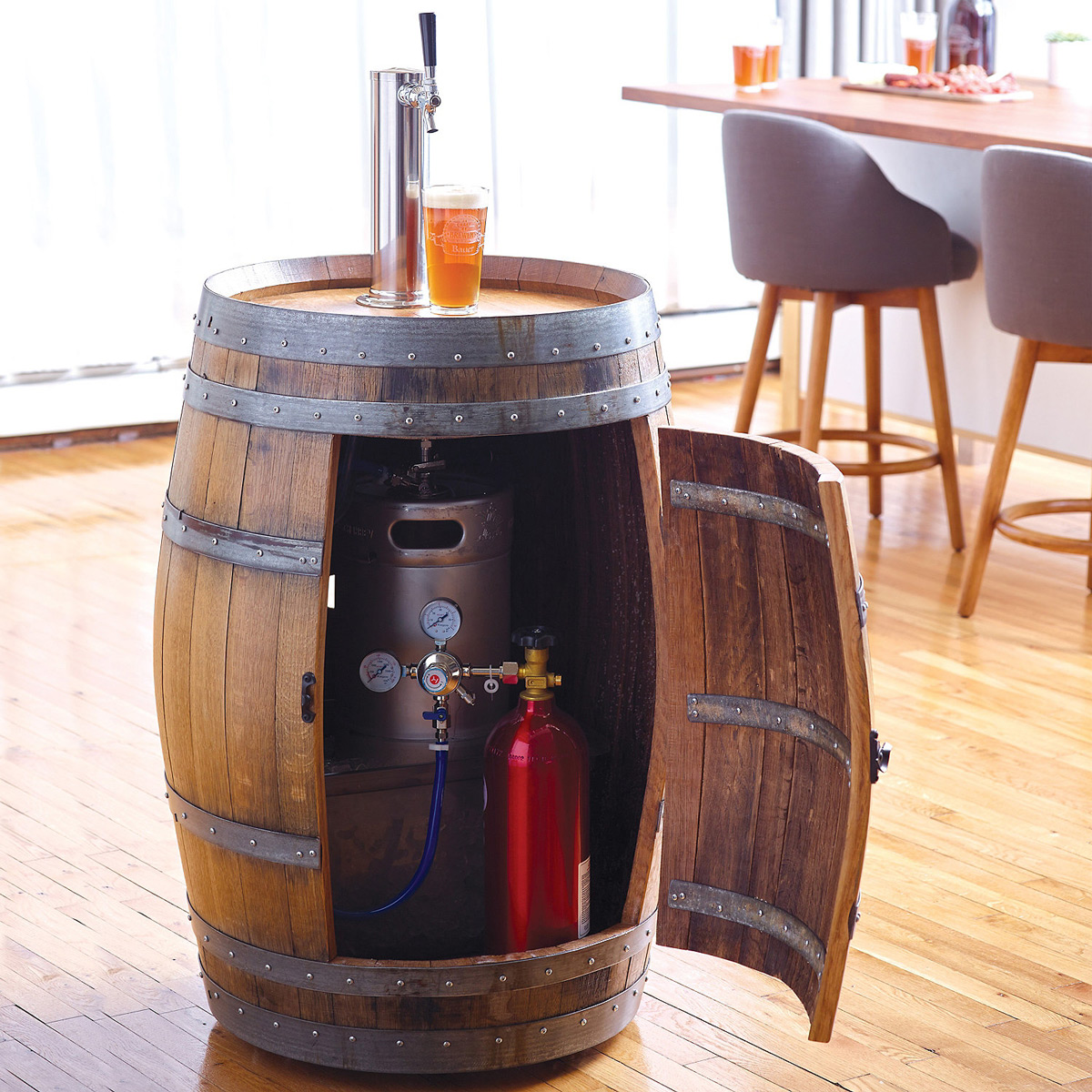 Countertop Beer Cooler And Tap Recycled Wine Barrel Kegerator The Green Head