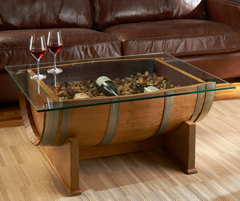 Baumstamm Als Couchtisch French Oak Wine Barrel Cocktail Table - The Green Head