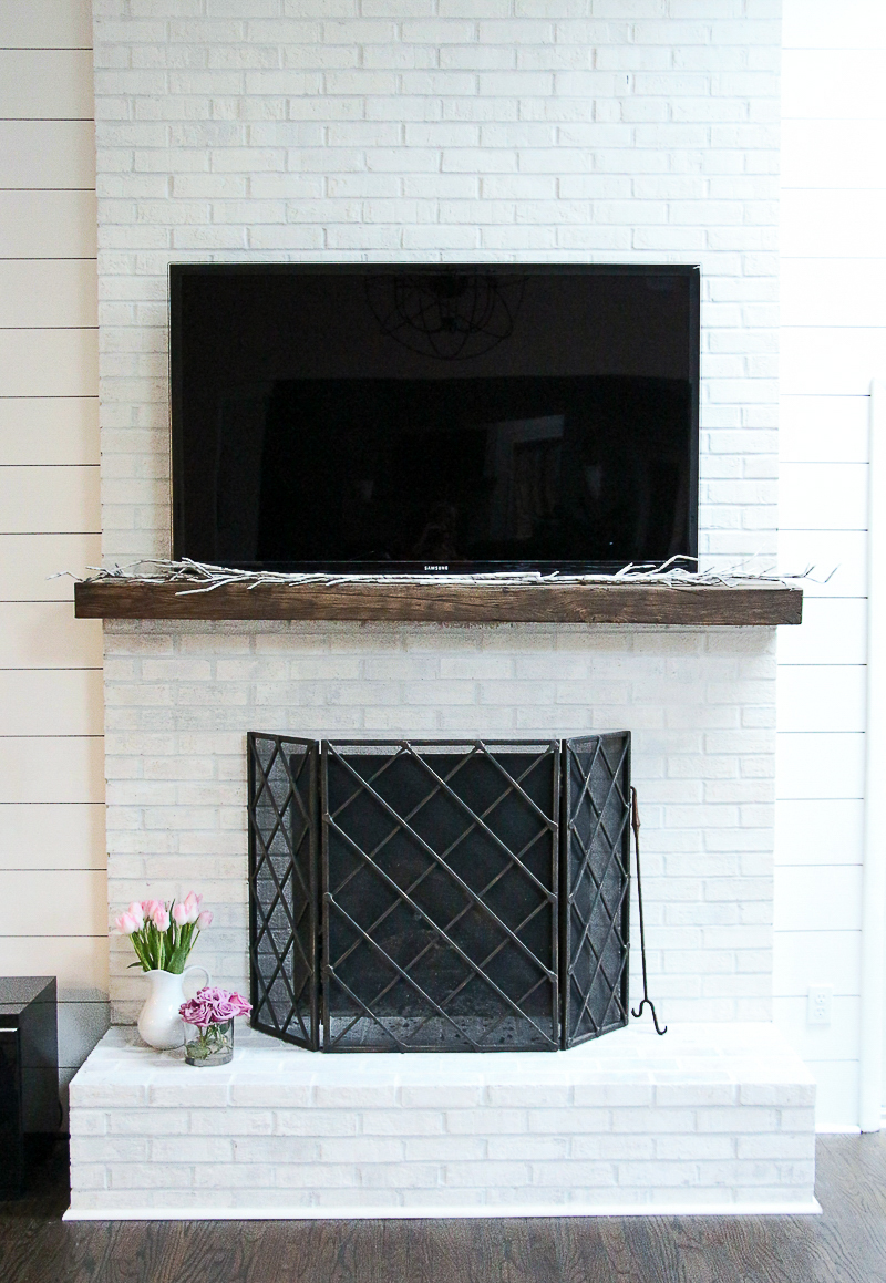 Painting An Old Fireplace How To Whitewash Your Brick Fireplace With Milk Paint The