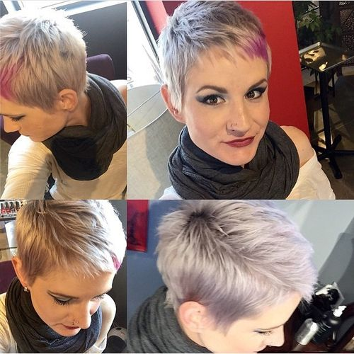 ashen haircut with pink short bangs