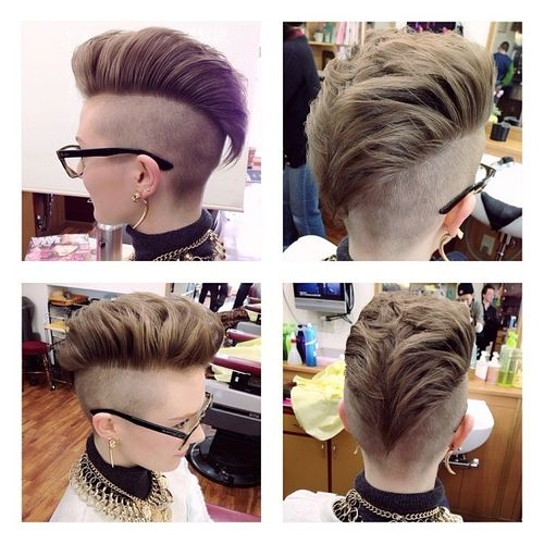 Light Brown Mohawk with Shaved Sides