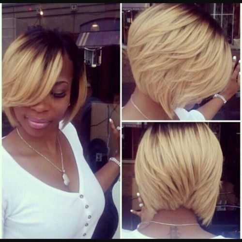 White Bob with Oblique Fringe and Dark Roots