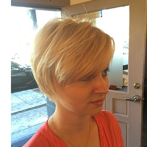 White Haircut with Oblique Fringe